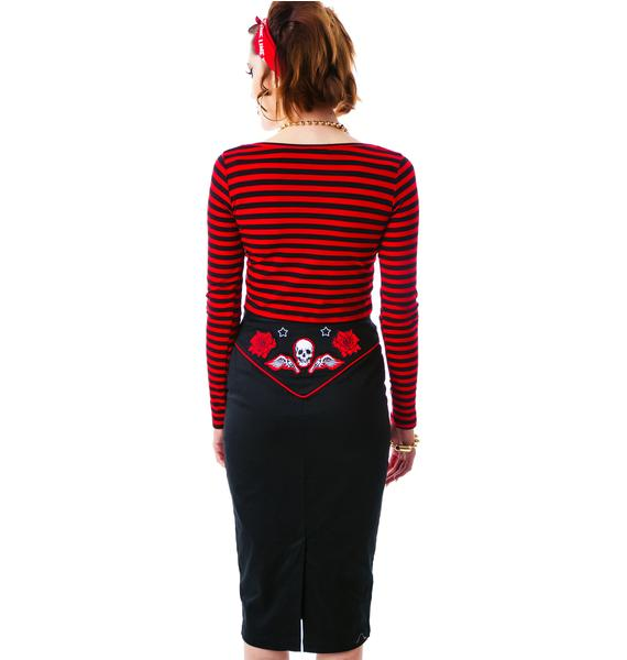 Hell Bunny Psychobilly Western Pencil Skirt