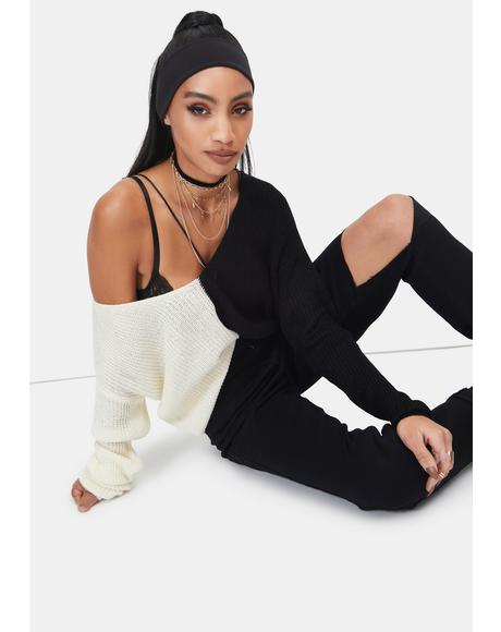Domino What U Waiting For Colorblock Knit Sweater
