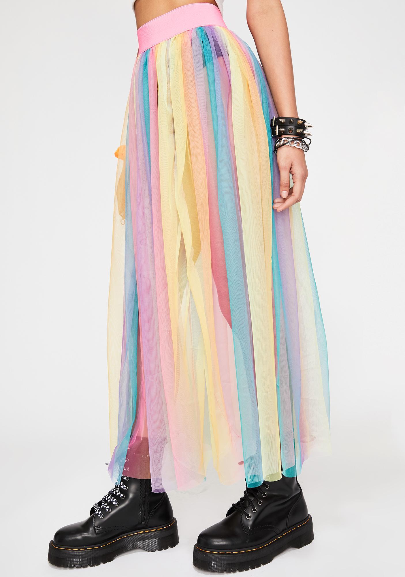 9273ba42b Midi Skirt Tulle Rainbow | Dolls Kill