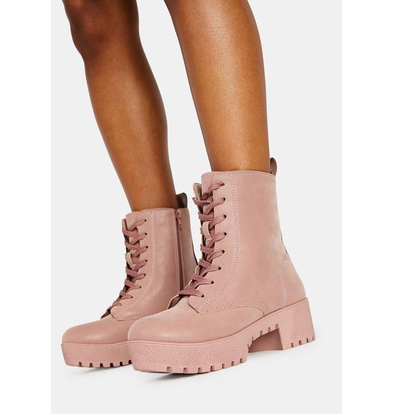 Blush Victory Is Mine Combat Boots