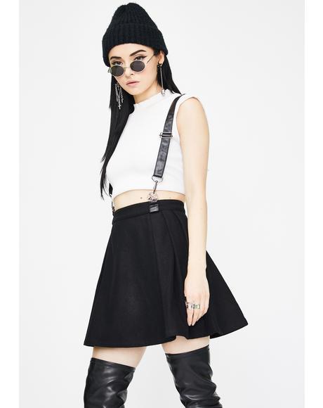 Woolen Lattice Pleated Half Skirt