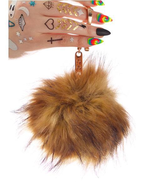 BB Gurl Tan Furry Pom Keychain
