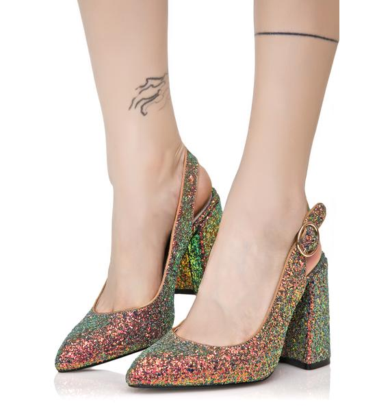 Shellys London Glitter Chester Kitten Heels
