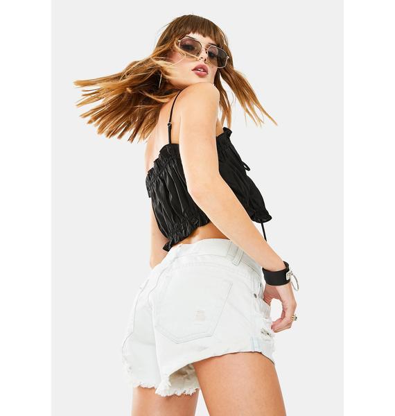 Glamorous Bleach Stonewash Denim Shorts