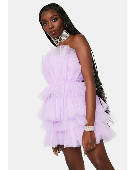 Lilac Ditching Prom Night Tulle Dress