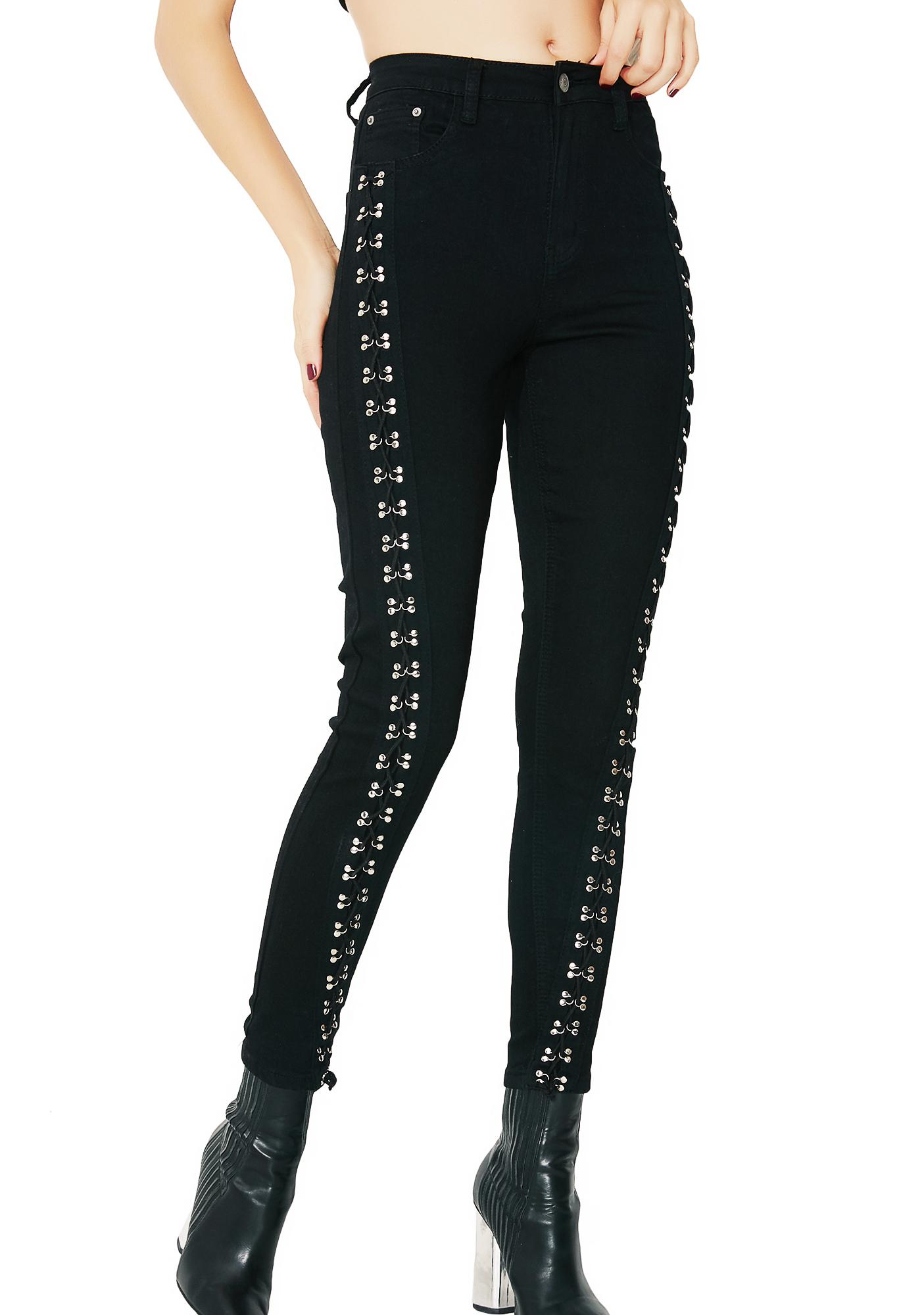 Glamorous Side Swipe Lace-Up Pants