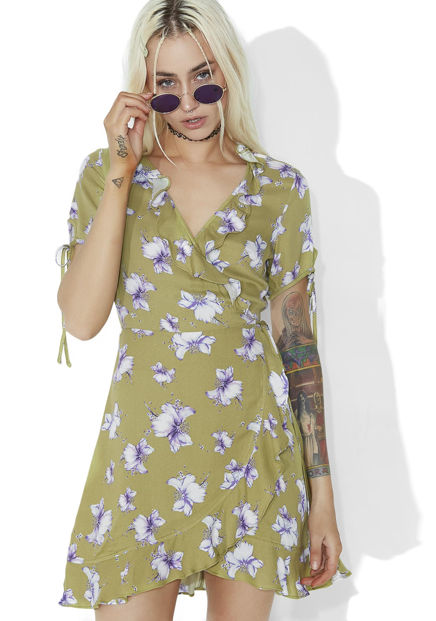 Sweet Pea Floral Wrap Dress