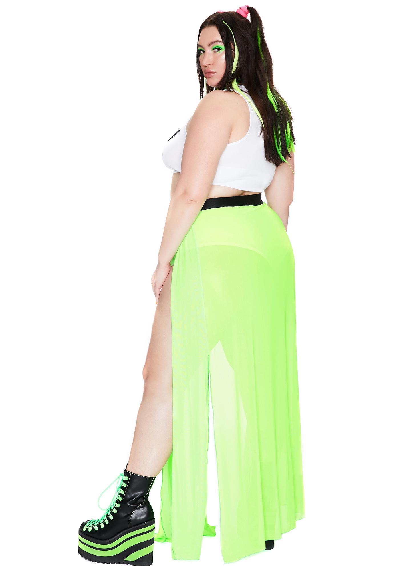 Club Exx Bright Glowing Beatz Sheer Maxi Skirt