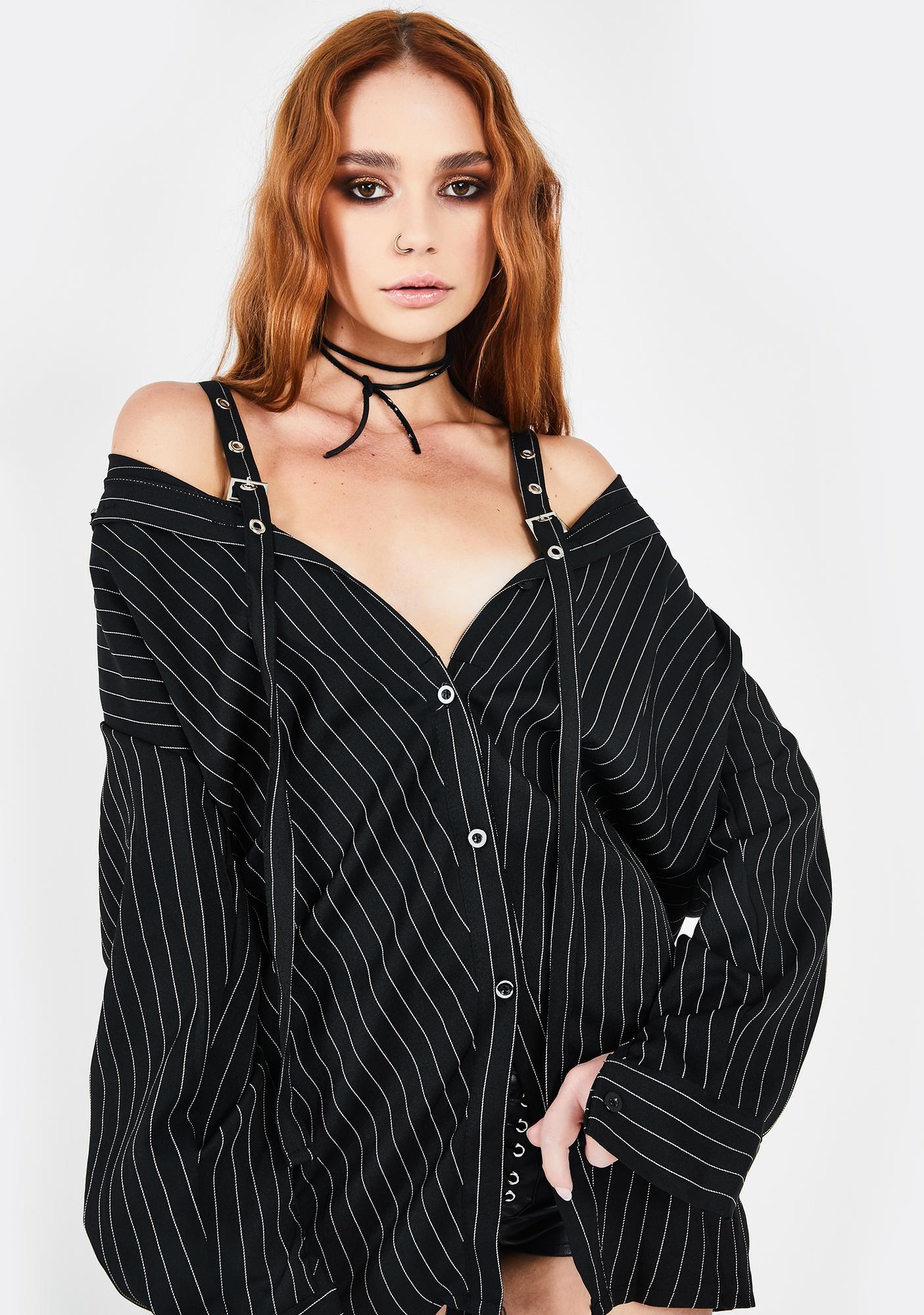 Alzang Black Pinstripe Buckle Shirt