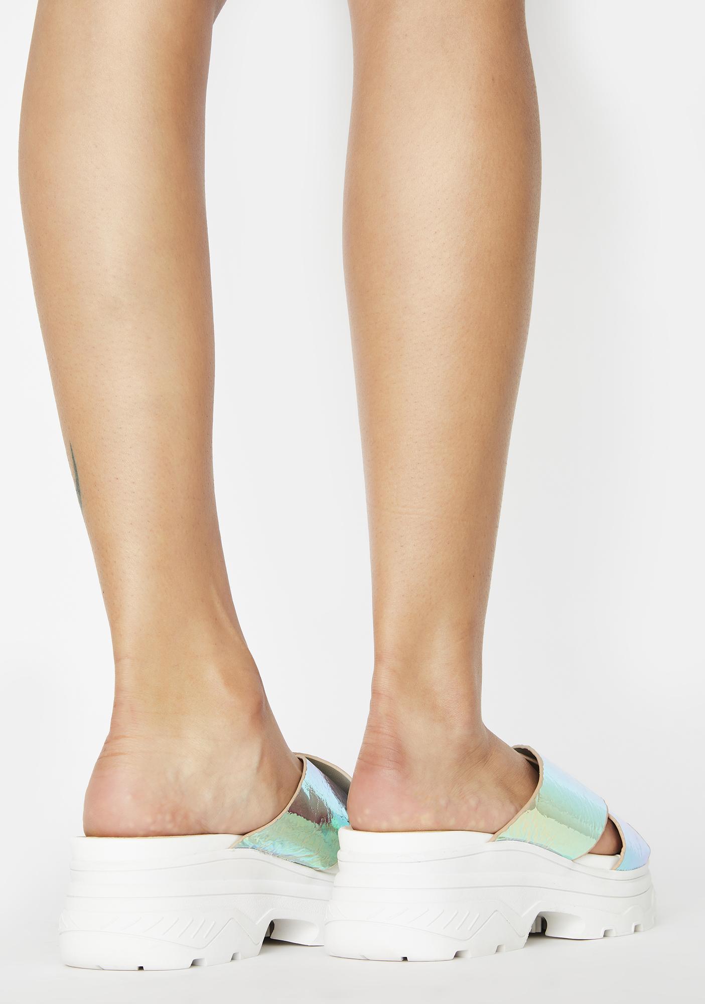Public Desire Iridescent Elma Platform Sandals