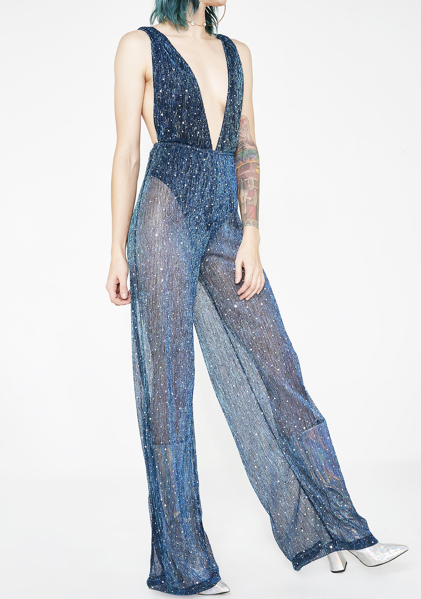 Jaded London Diamante Shimmer Plunge Mesh Flared Catsuit