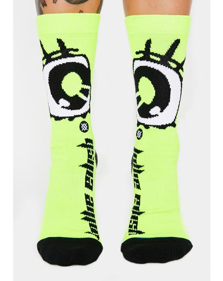 Neon Green Anime Eyes Socks