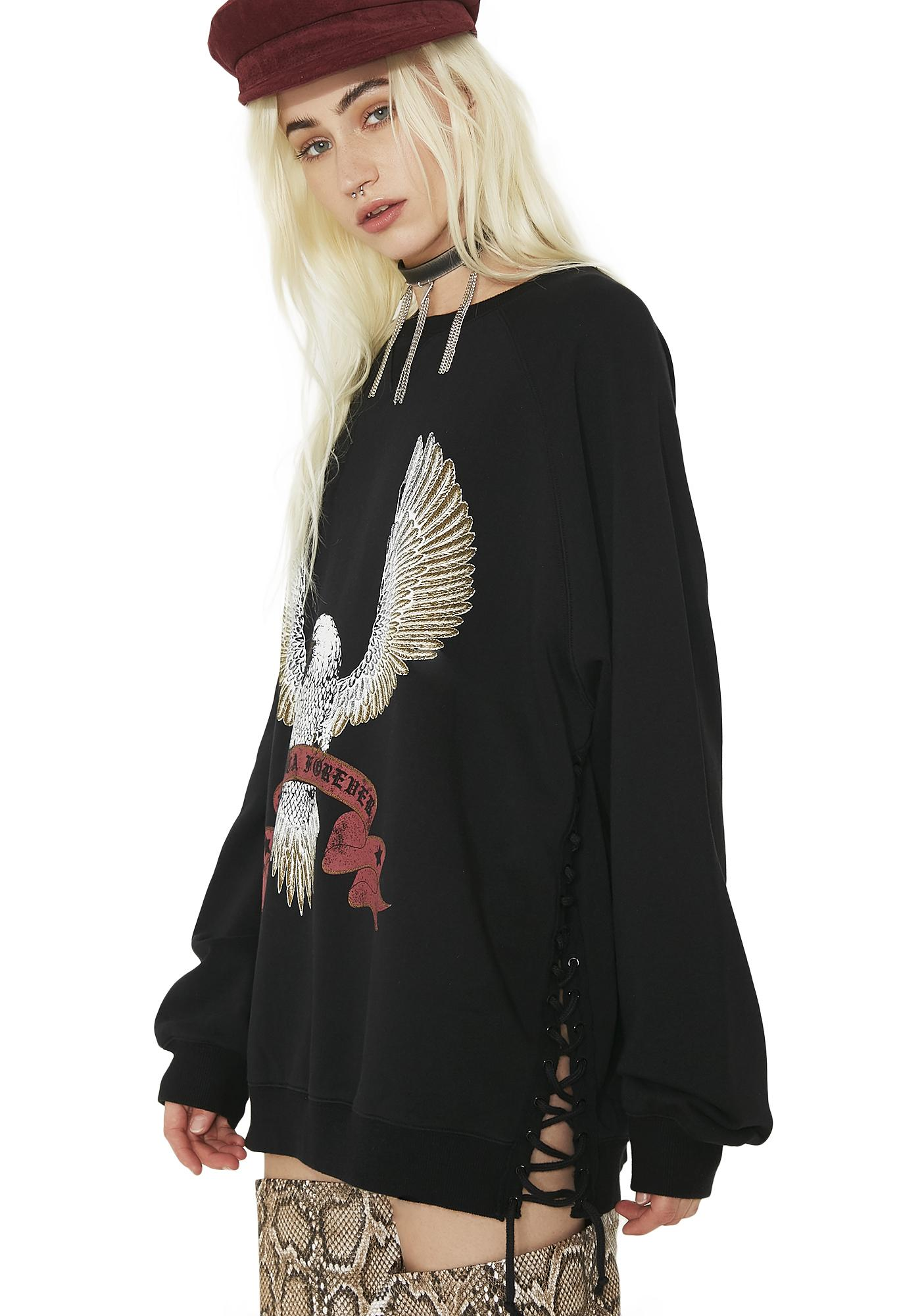 Current Mood American Dreamz Lace-Up Sweatshirt
