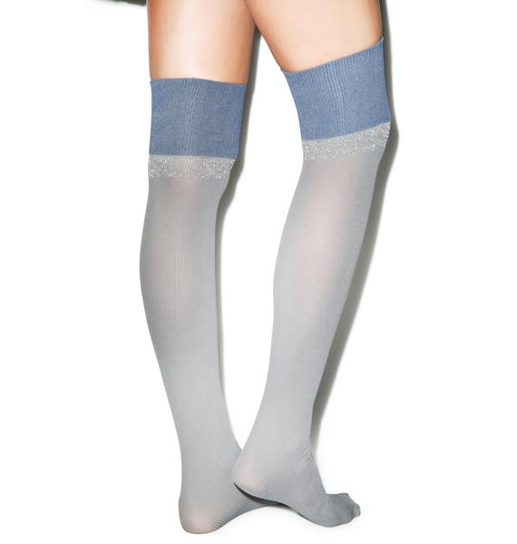 Pretty Polly Rib Knit Over The Knee Tights