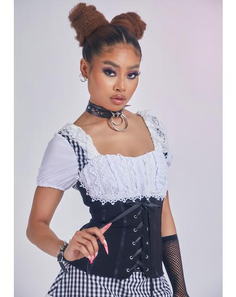 Night Dates With You Lace-Up Corset Top