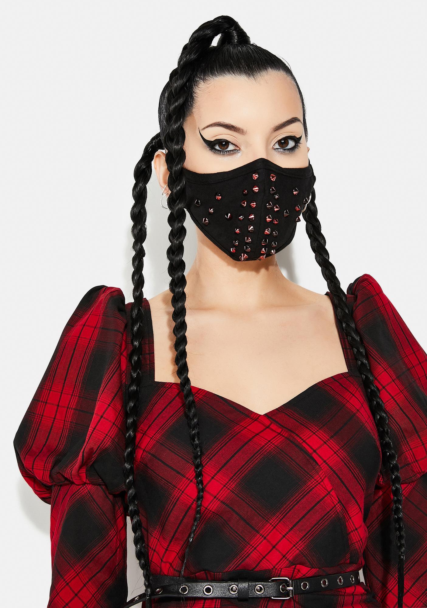 Punk Rave Red Dazzle Rivet Face Mask