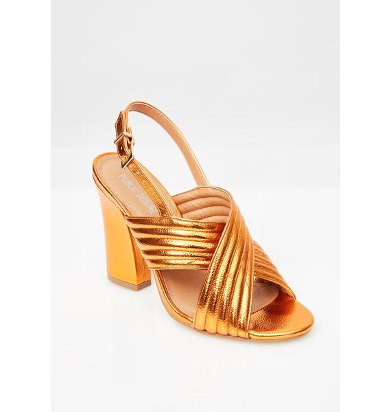 Public Desire Sunset Dust Cross Over Heeled Sandals