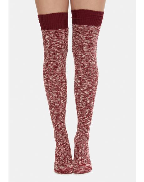 Burgundy Makes You Wonder Knitted Thigh High Socks