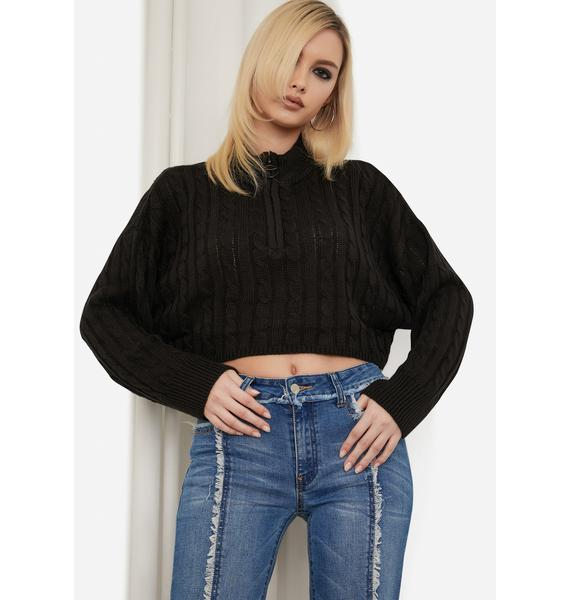 Noir Always And Forever Cable Knit Sweater