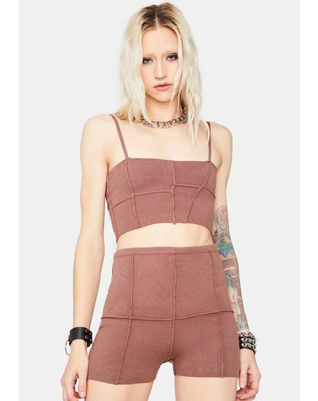 Mocha Quiet Moment Patchwork Lounge Shorts Set