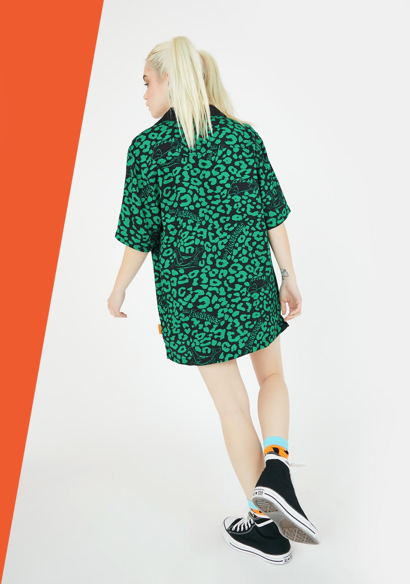 Lazy Oaf X Flintstones Dino Leopard Bowling Shirt