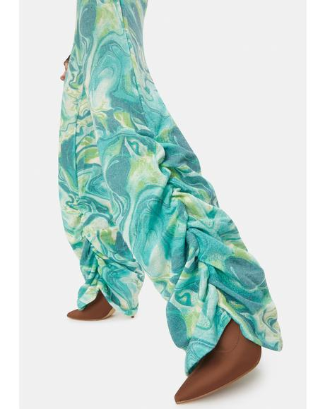 Lime Tie Dye Print Ruched Hem Knit Joggers