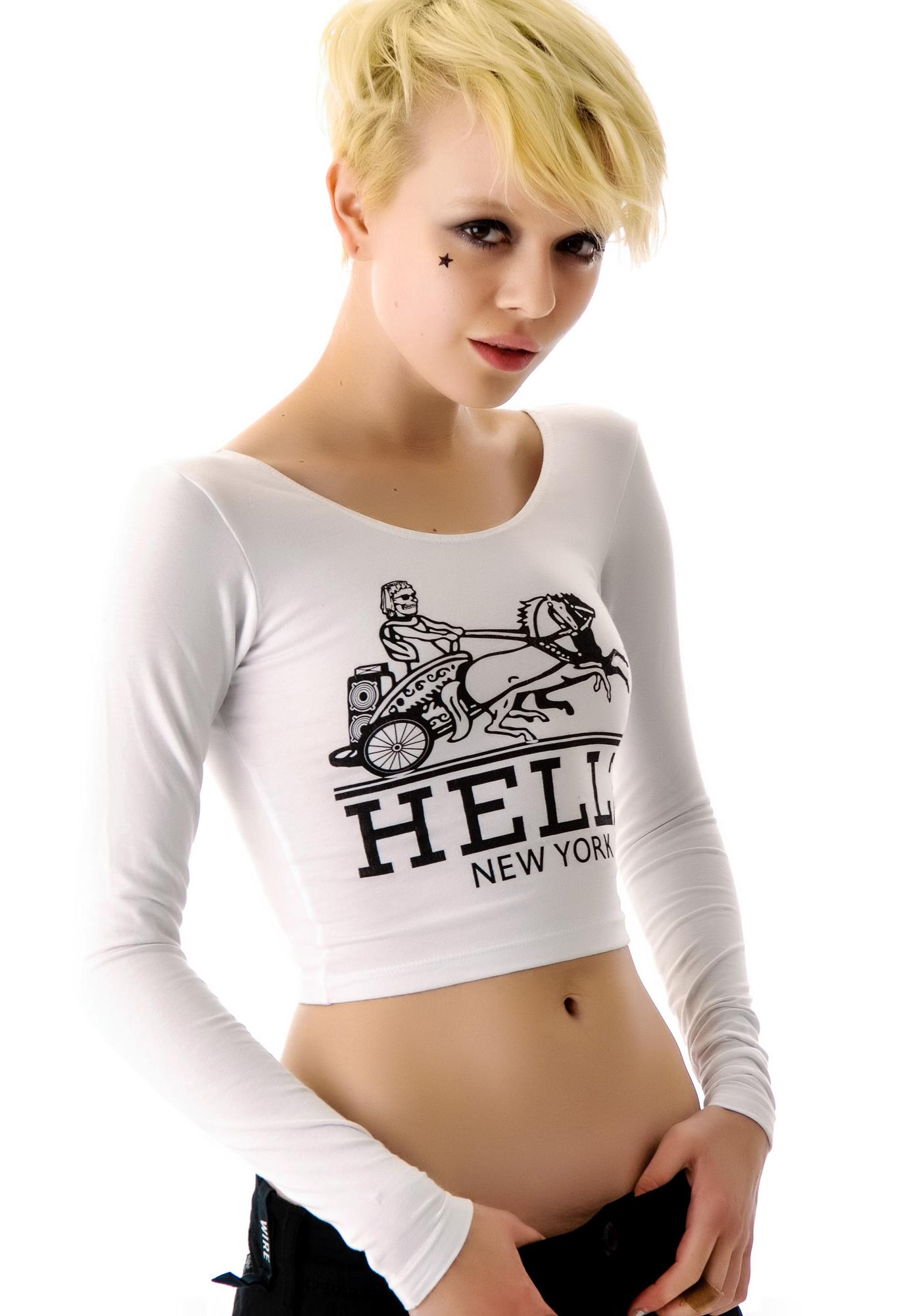 Hellz Bellz x Belle of the Brawl Hermez Long Sleeve Crop Top