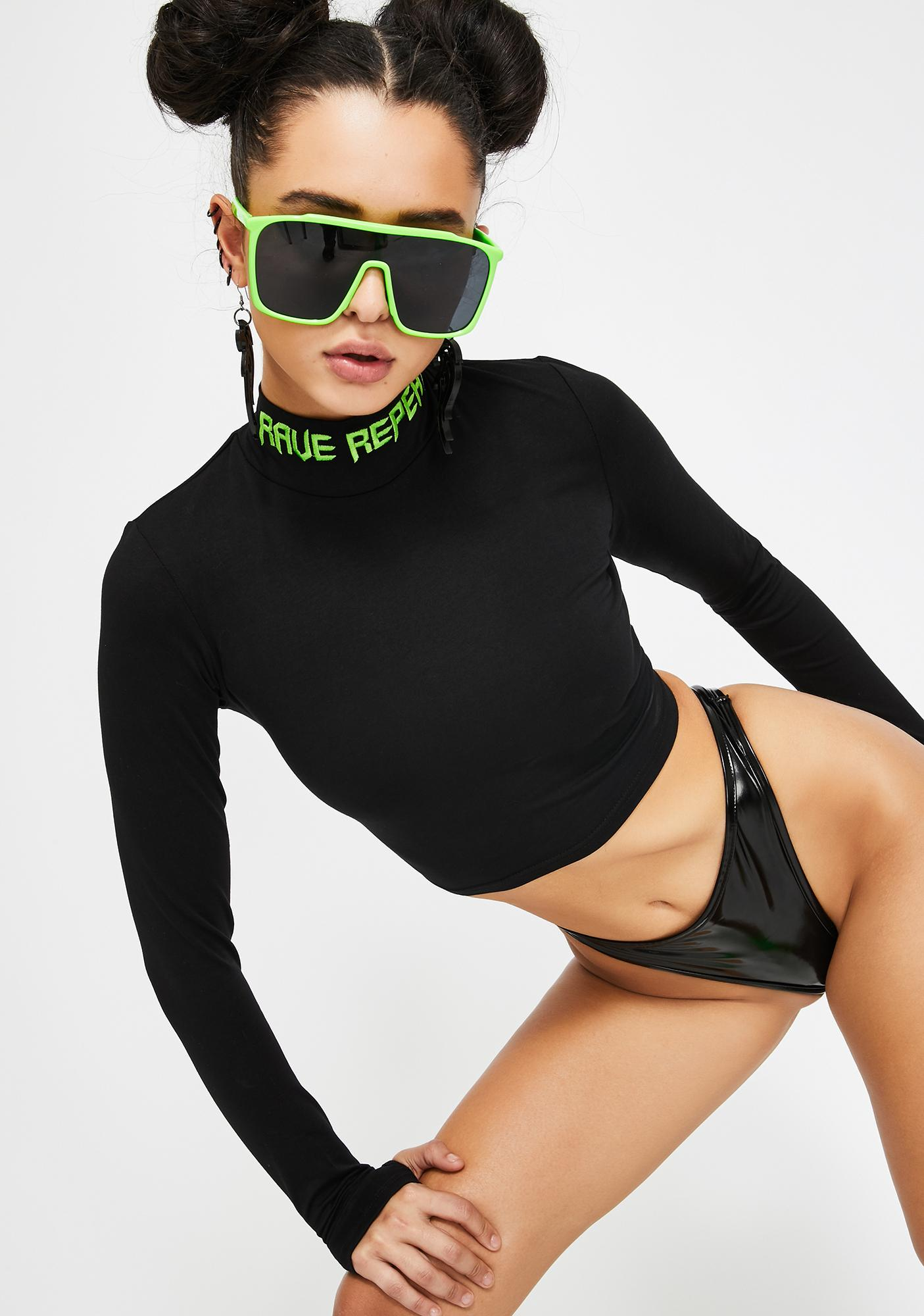 Club Exx Forever Ravers Mock Neck Top