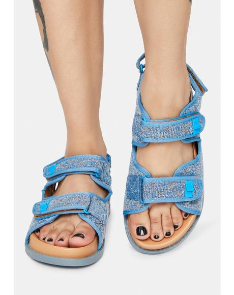 Aqua Carmen Denim Flat Sandals