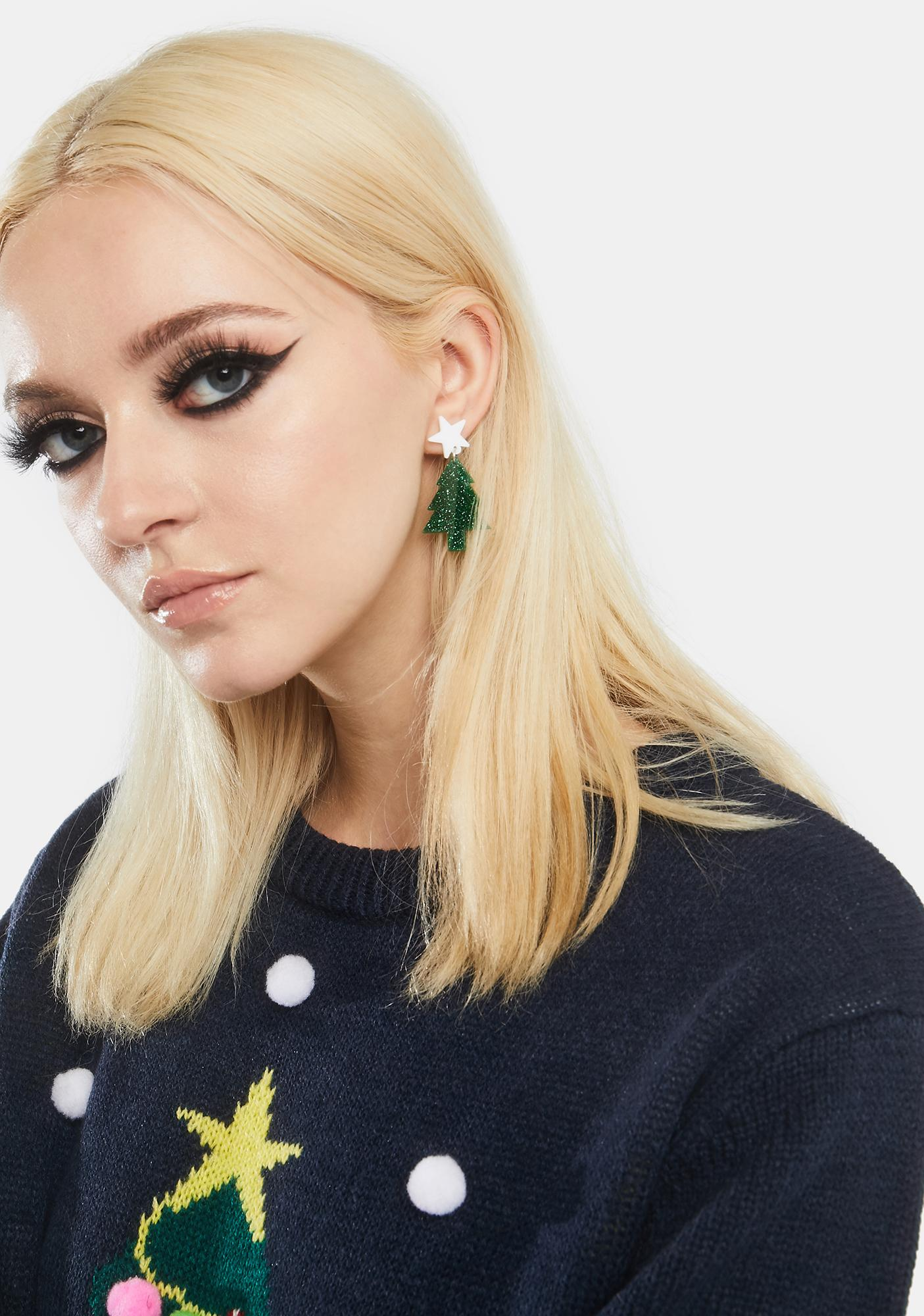 Christmas Tree Rock Drop Earrings