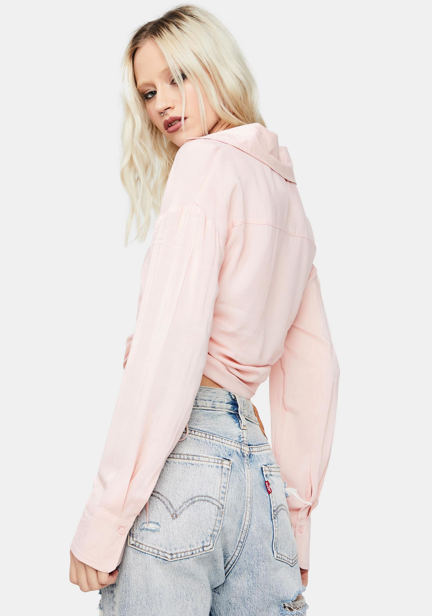 Blush Roll With It Ruched Button Up Top