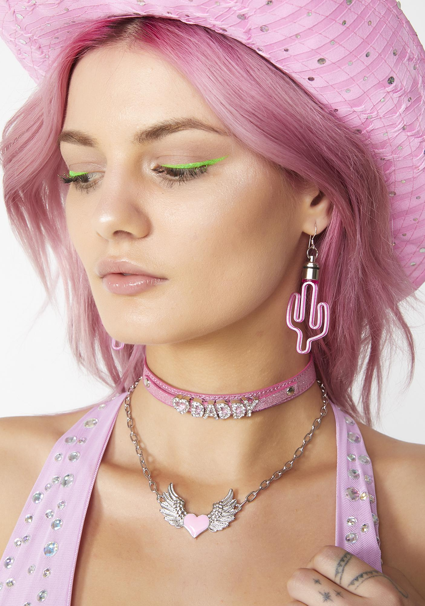 8397c6fb9bafb0 Neon Cowboys LED Cactus Earrings | Dolls Kill