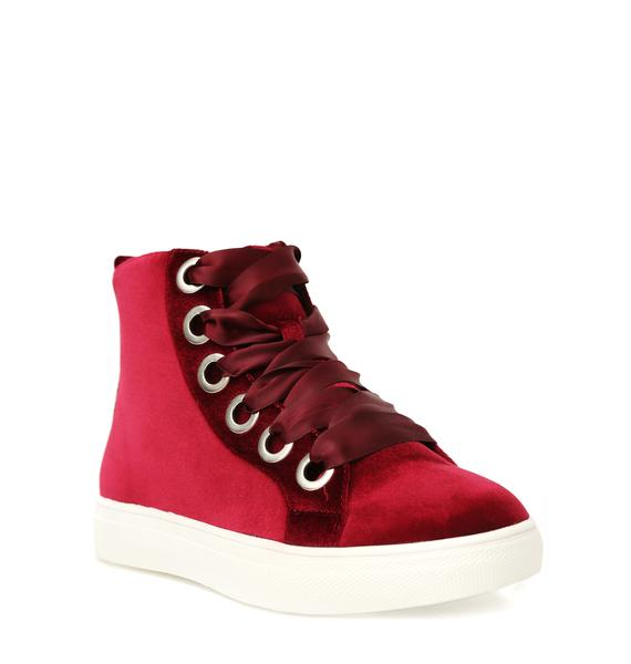 Burgundy Slow Down Velvet Sneakers