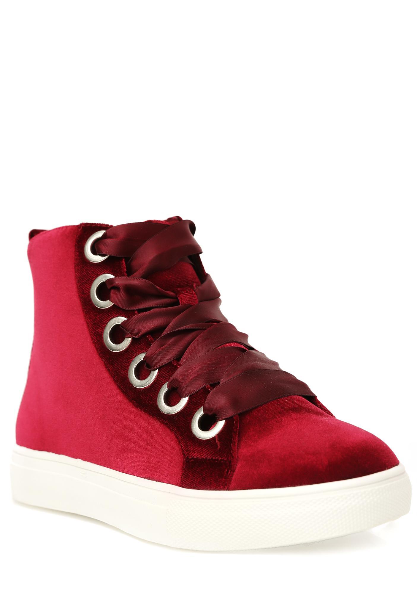 Burgundy Slow Down Velvet Sneakers