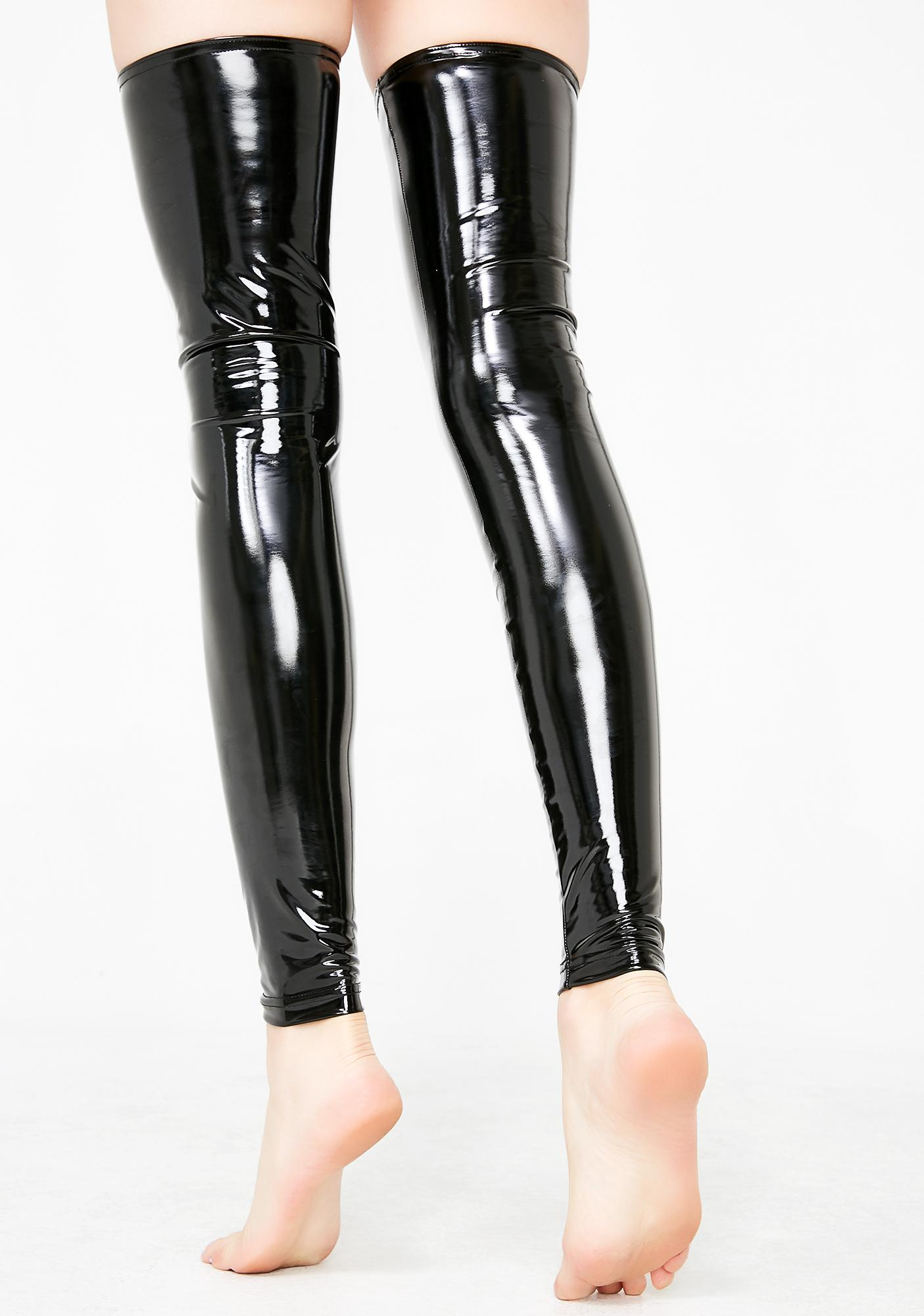 Current Mood After Dark PVC Thigh Highs