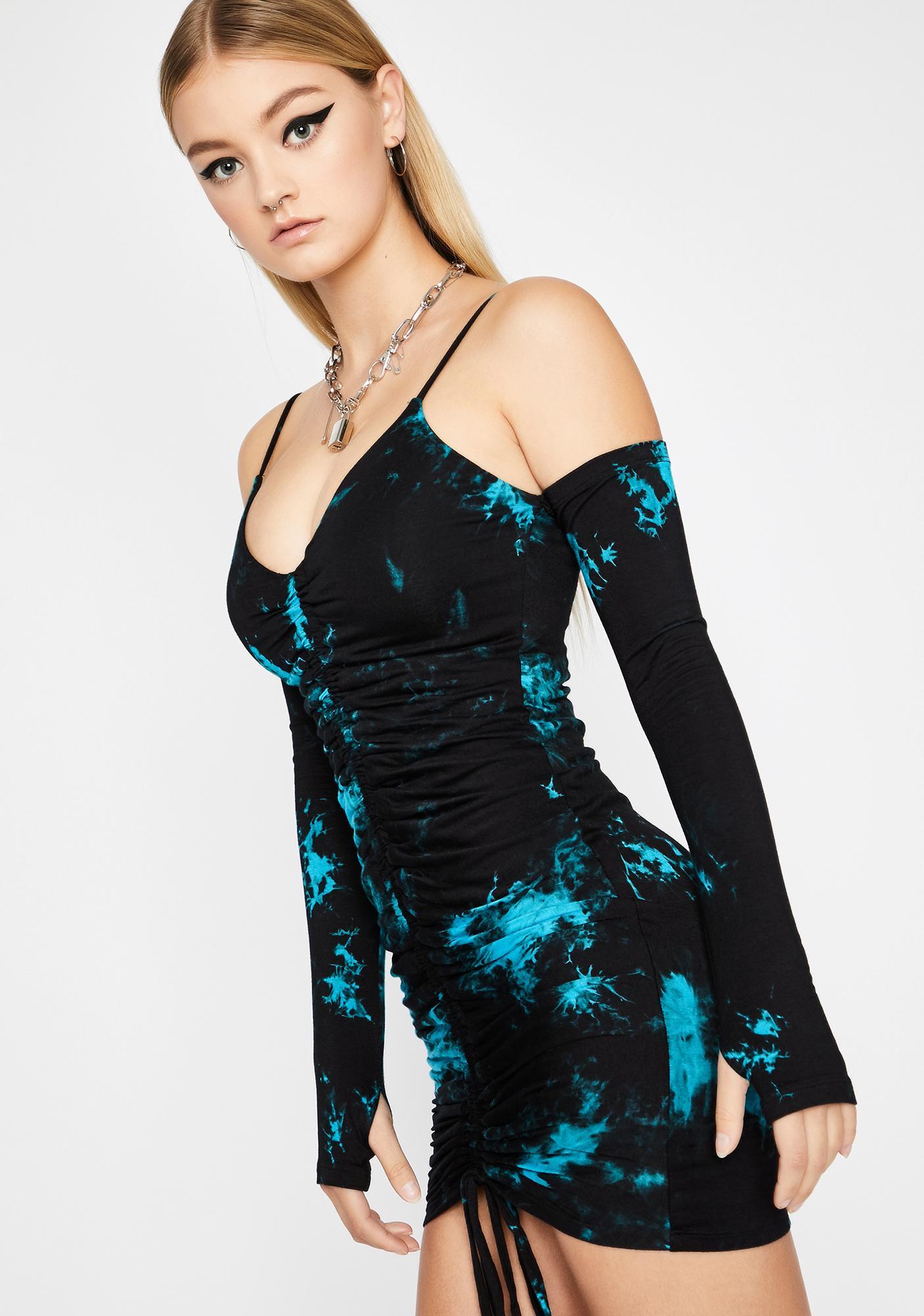 Aqua Normal Is Boring Tie Dye Dress