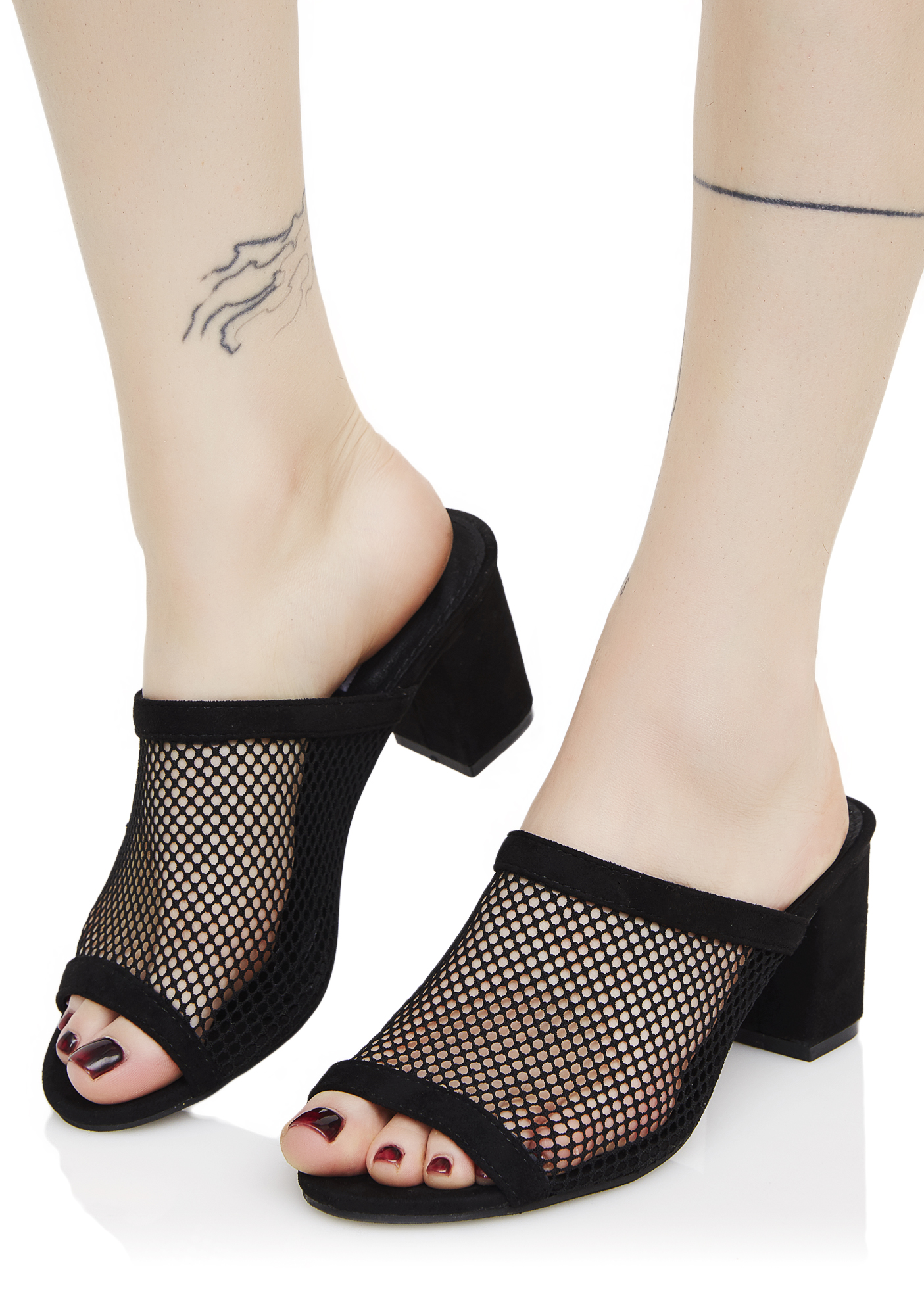 Black Mesh Heeled Mules