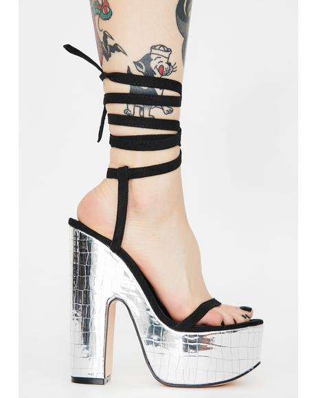 Black Genevive Lace Up Heels