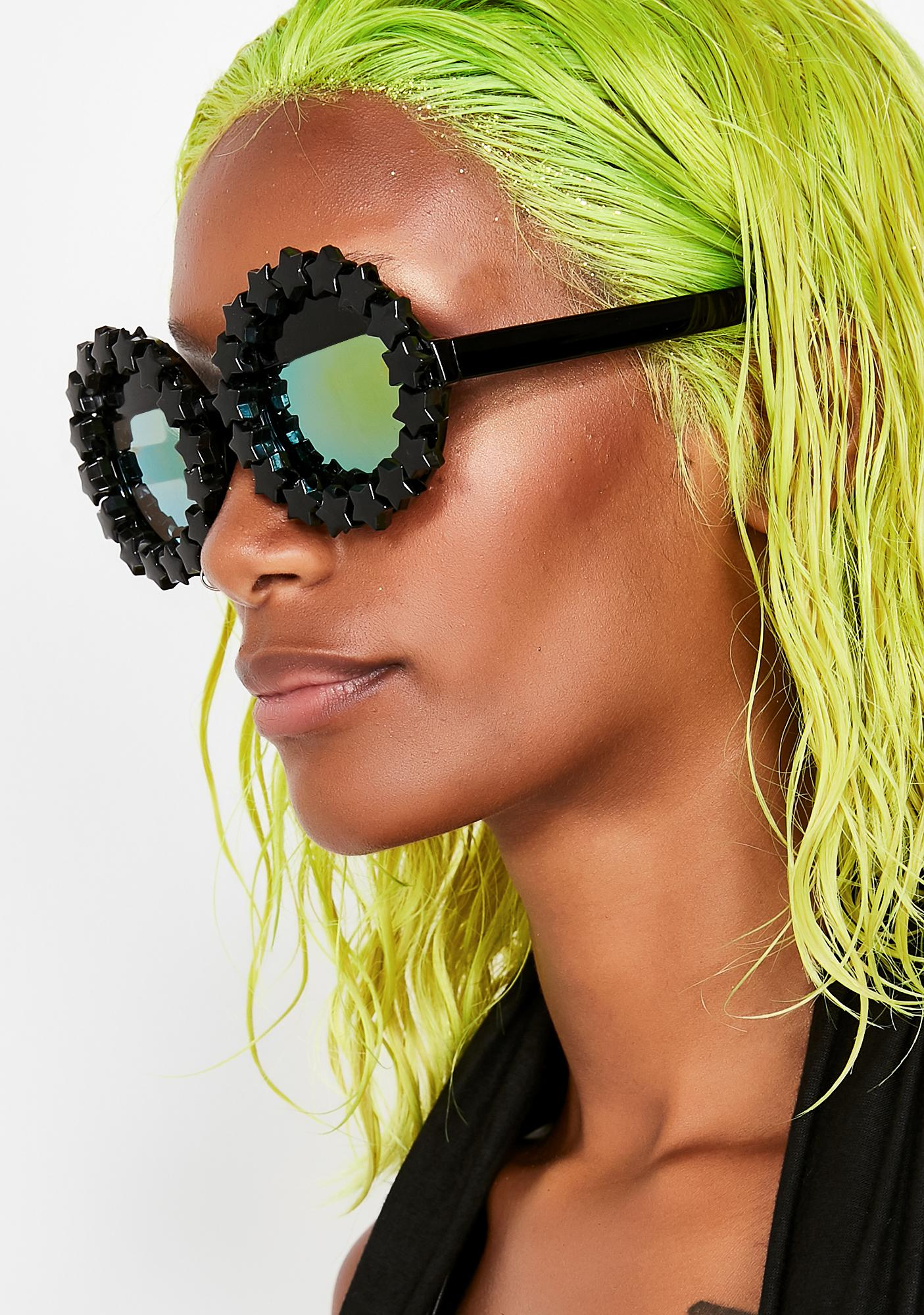 Rad and Refined Goth Starry Eyed Round Sunglasses