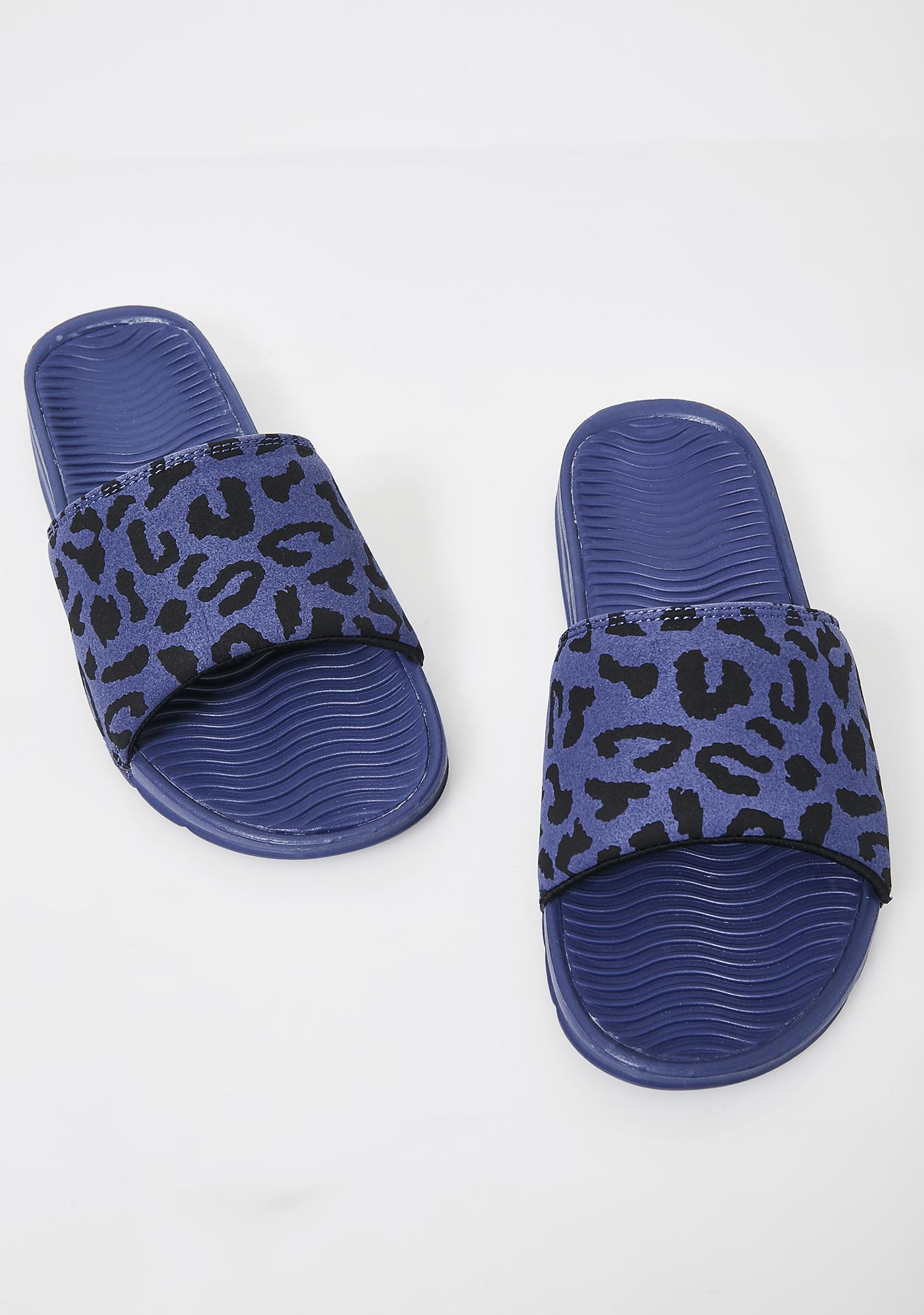 HUF Blue Leopard Slides