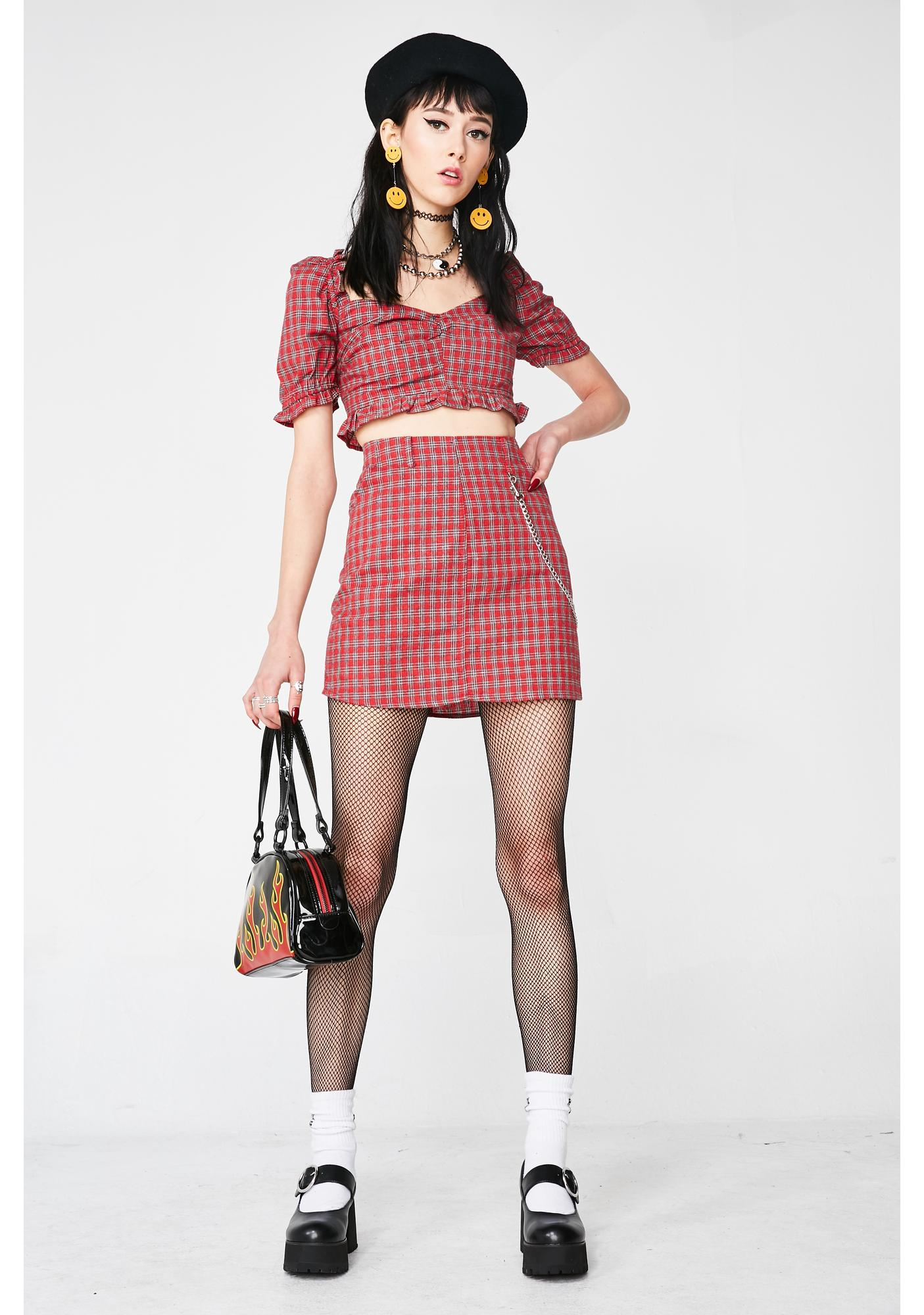 Cherry Love Lies Plaid Top