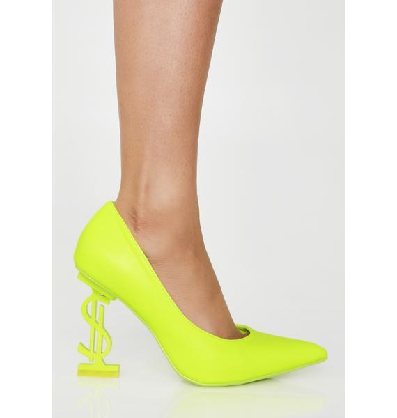 Glowin' Priceless Stunt Pointed Heels
