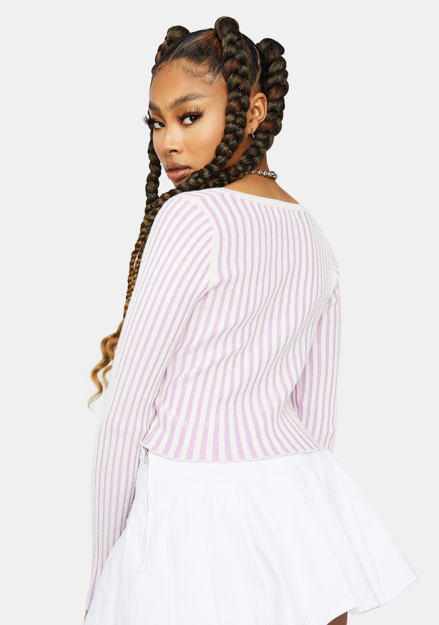 Lavender Loyal Sweetie Button Up Crop Top