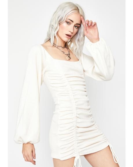 Ivory Hissy Fit Ruched Mini Dress