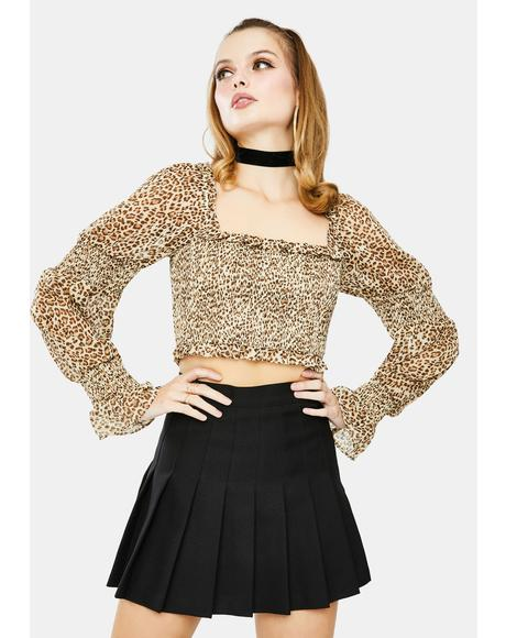 Leopard Long Sleeve Crop Top