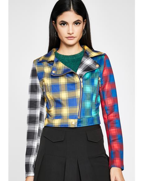 Funky Plaid Action Moto Jacket