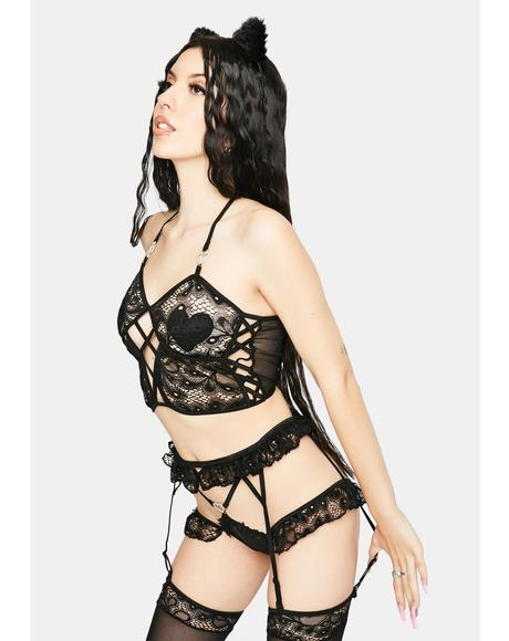Midnight Hands On Lace Lingerie Set