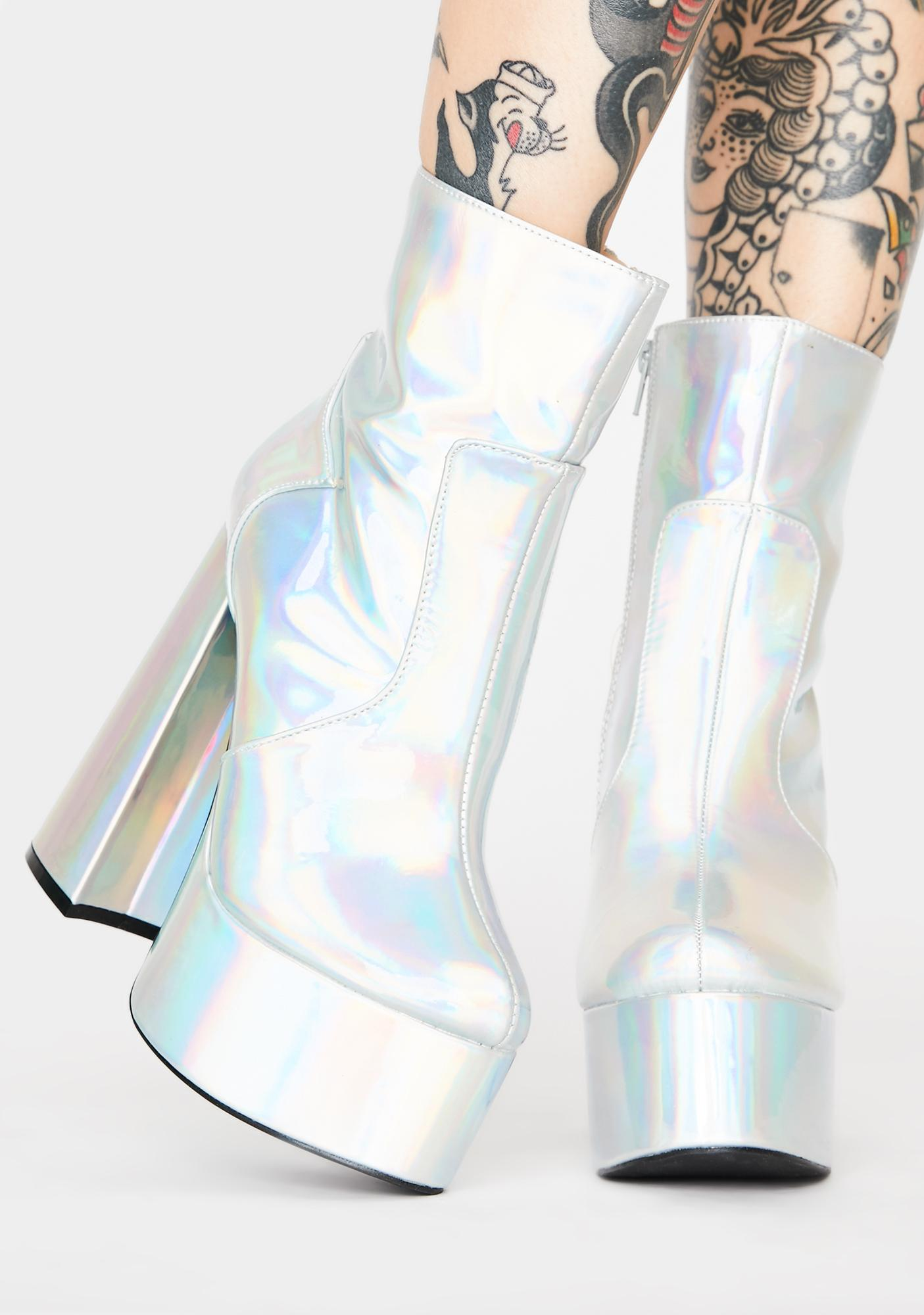 Holographic Lost N' Never Found Platform Boots