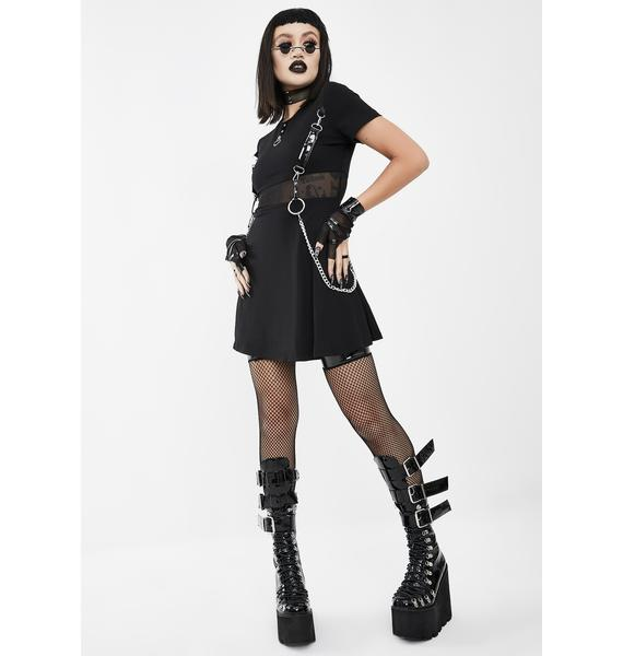 Devil Fashion Black Harness Mini Dress With Chains