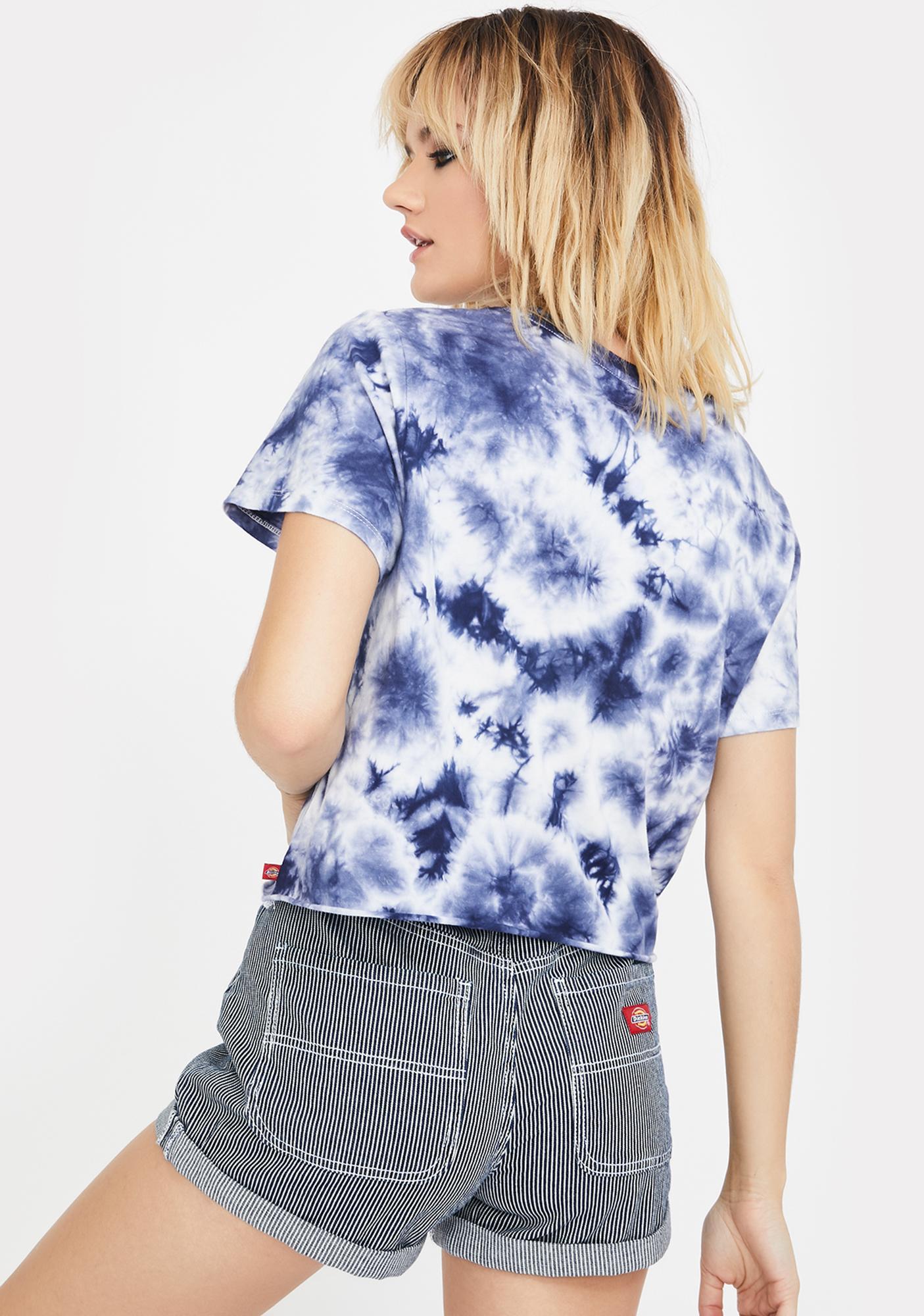 Dickies Girl Navy White Tie Dye Crop Top